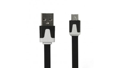 Flat USB data kabel micro USB - Crni
